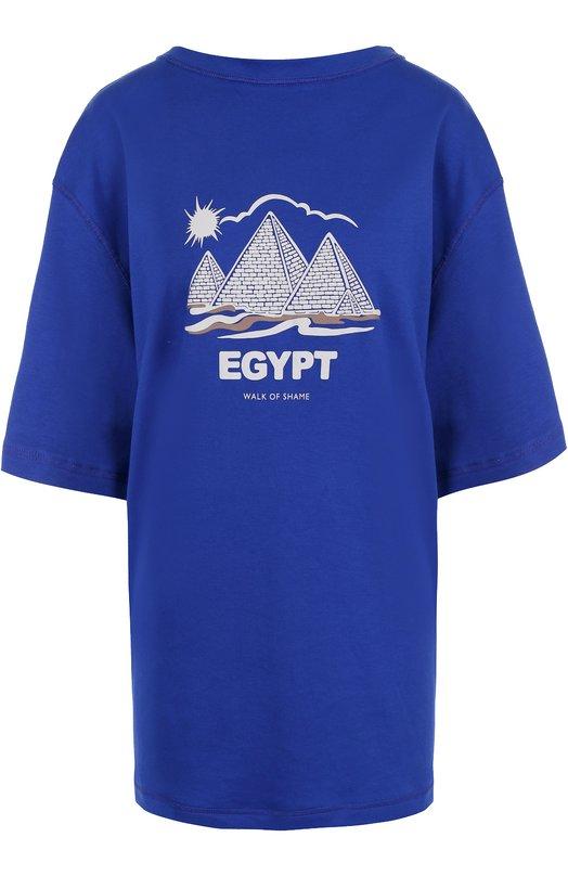 Купить Хлопковая футболка свободного кроя Walk of Shame, TSH008-FW 17-18, Россия, Синий, Хлопок: 100%;