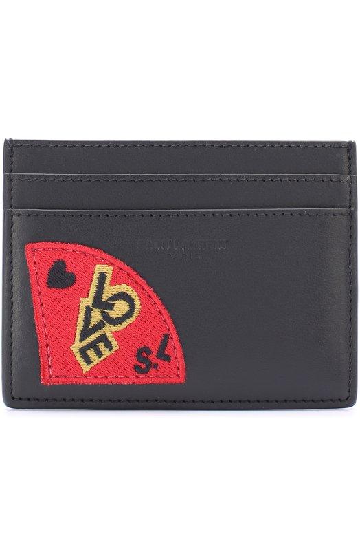 Кожаный футляр для кредитных карт с аппликацией Saint Laurent