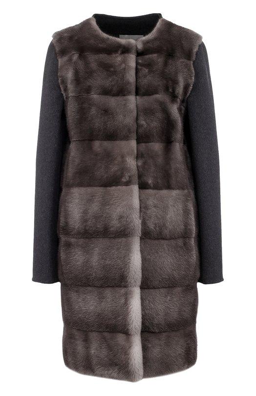 Купить Пальто из смеси шерсти и кашемира с отделкой из меха норки Yves Salomon, 8WYM03890CDXX, Франция, Серый, Шерсть: 60%; Кашемир: 40%; Мех/норка/: 100%;