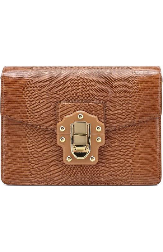Купить Сумка Luciaиз тисненой кожи Dolce & Gabbana, 0116/BB6350/A1095, Италия, Светло-коричневый, Кожа натуральная: 100%;