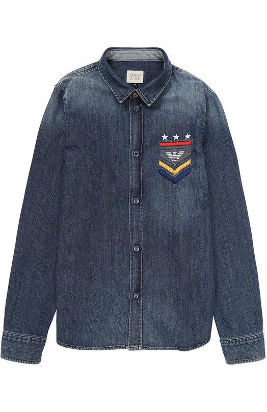 Купить Джинсовая рубашка с потертостями Armani Junior, 6Y4C05/4D0MZ/11A-16A, Тунис, Синий, Хлопок: 100%;