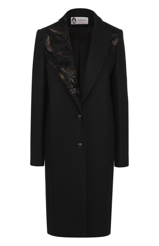 Пальто прямого кроя с перьевой отделкой и вышивкой Lanvin