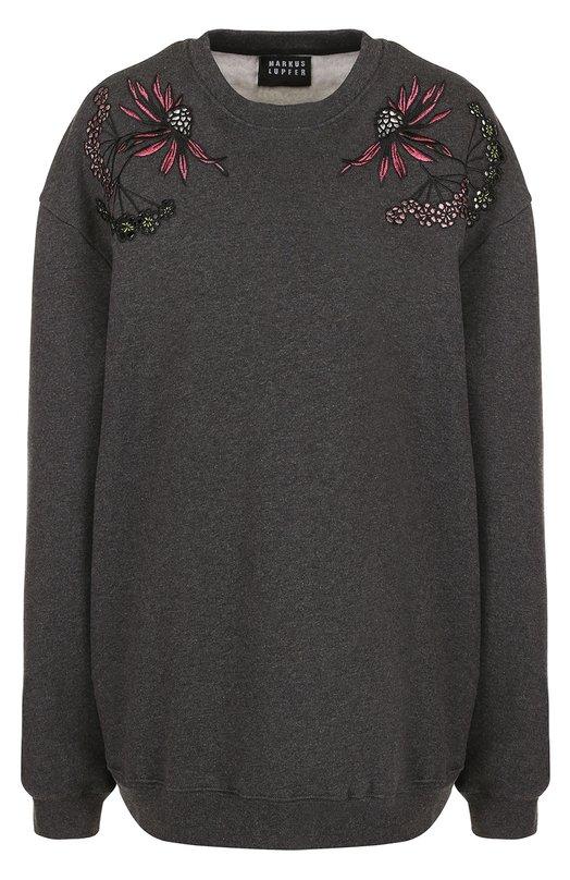 Купить Хлопковый свитшот с контрастной вышивкой Markus Lupfer, SW304, Португалия, Темно-серый, Хлопок: 100%;