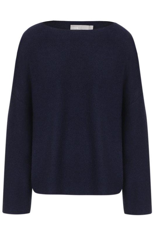 Купить Кашемировый пуловер с вырезом-лодочка Vince, V417677336, Китай, Темно-синий, Кашемир: 100%;