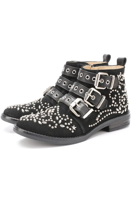 Купить Замшевые ботинки с заклепками Ermanno Scervino, 52831/28-35, Италия, Черный, Стелька-кожа: 100%; Подошва-резина: 100%; Замша натуральная: 100%;