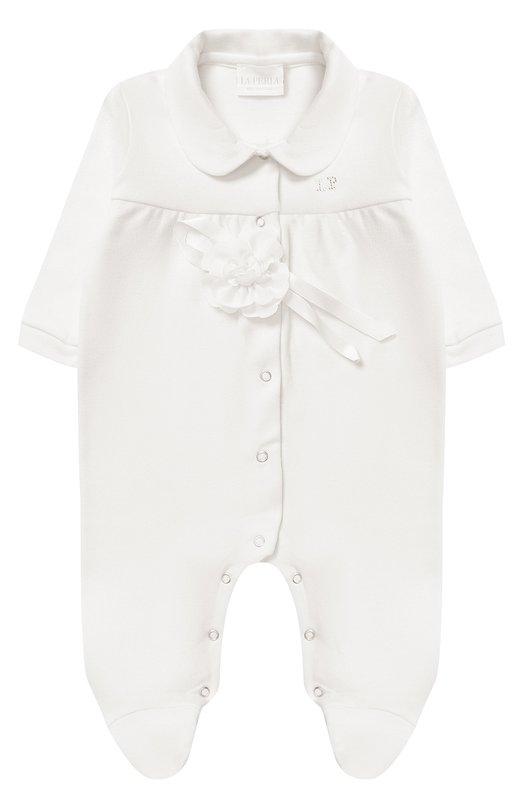 Купить Хлопковая пижама с декоративным цветком La Perla, 52593/1M-12M, Италия, Кремовый, Хлопок: 100%;