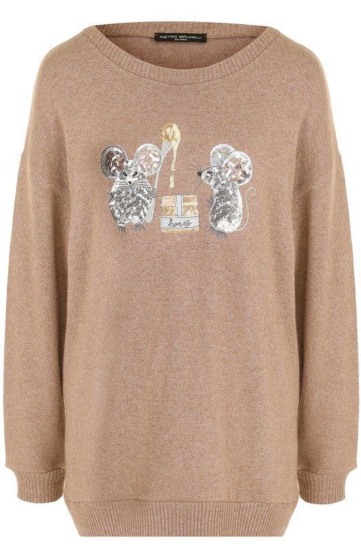Купить Пуловер свободного кроя с вышивкой пайетками Pietro Brunelli, MA0147/HM/WL0038, Италия, Кремовый, Вискоза: 63%; Кашемир: 5%; Эластан: 3%; Полиамид: 19%; Ангора: 10%;