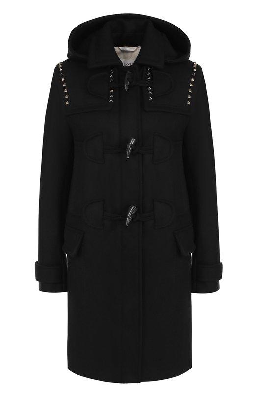 Купить Шерстяное пальто-дафлкот с капюшоном Valentino, NB3CK012/3SC, Италия, Черный, Подкладка-хлопок: 76%; Подкладка-лен: 24%; Шерсть: 100%;