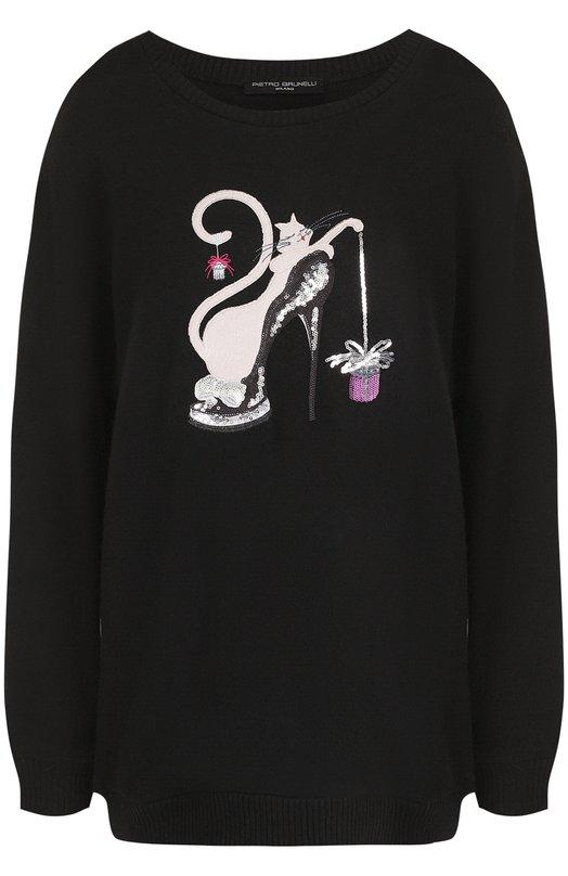 Пуловер с круглым вырезом и декоративной отделкой Pietro Brunelli, MA0147/VC/WL0038, Италия, Черный, Вискоза: 63%; Кашемир: 5%; Эластан: 3%; Полиамид: 19%; Ангора: 10%;  - купить