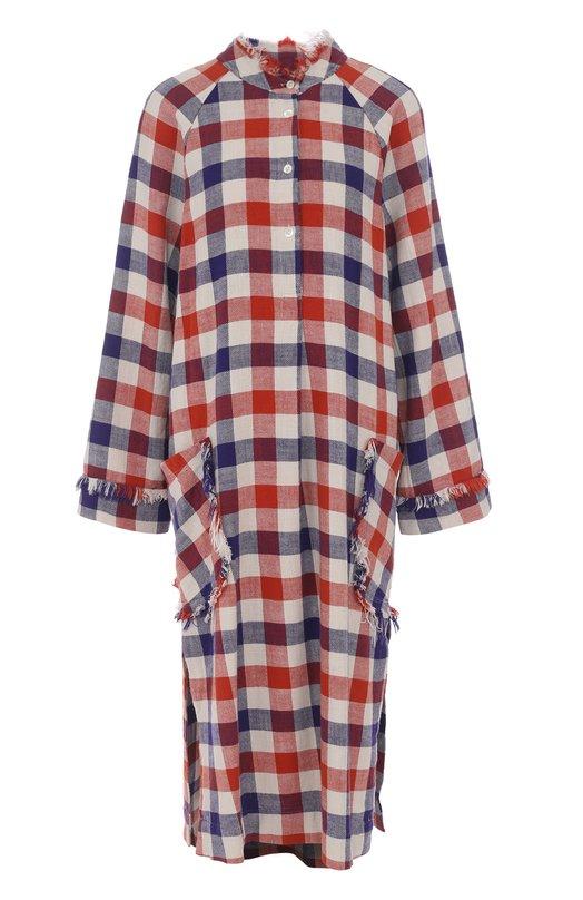 Купить Хлопковое платье свободного кроя в клетку Raquel Allegra, Y74-6721, США, Разноцветный, Хлопок: 100%;