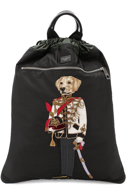 Рюкзак с вышивкой и кожаной отделкой Dolce & Gabbana