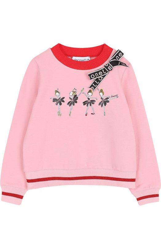 Купить Хлопковый свитшот с декоративной отделкой Simonetta, 1H4050/HA670/4-6, Венгрия, Розовый, Хлопок: 95%; Эластан: 5%;