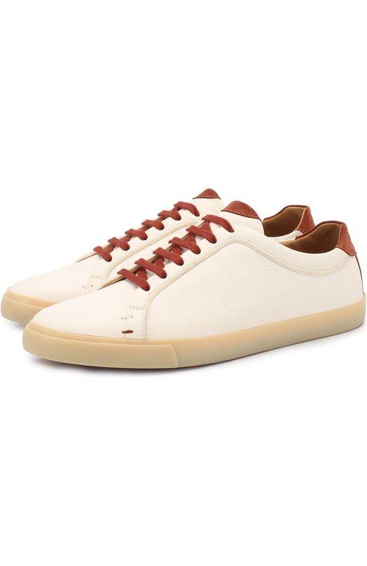 Купить Кожаные кеды Freetime Walk на шнуровке Loro Piana, FAG3586, Италия, Белый, Кожа натуральная: 100%; Стелька-кожа: 100%; Подошва-резина: 100%;