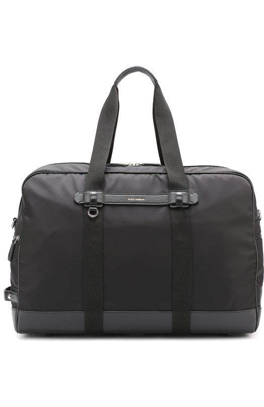 Купить Текстильная дорожная сумка с плечевым ремнем Dolce & Gabbana, 0115/BM1424/AE981, Италия, Черный, Полиамид: 41%; Кожа натуральная: 40%; Акрил: 4%; Полипропилен: 15%;