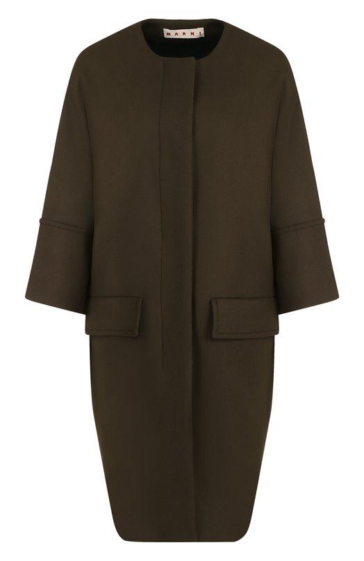 Купить Шерстяное пальто с круглым вырезом и укороченным рукавом Marni, CPMAS30U00/TW813, Италия, Хаки, Шерсть: 80%; Подкладка-хлопок: 64%; Подкладка-вискоза: 36%; Полиамид: 20%;