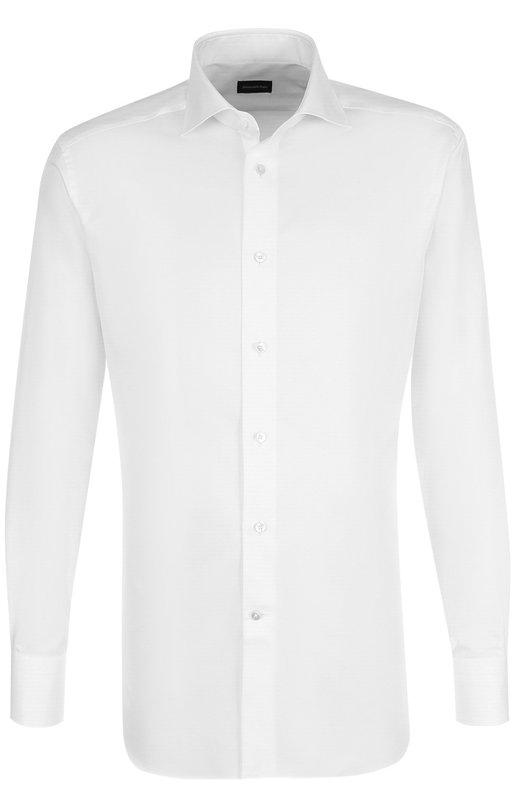 Купить Хлопковая сорочка с воротником кент Ermenegildo Zegna, 204001/9RS0PA, Швейцария, Белый, Хлопок: 100%;
