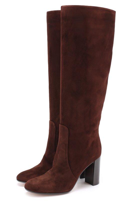 Купить Замшевые сапоги Blanca на устойчивом каблуке Gianvito Rossi, G80758.85CU0.CAS, Италия, Коричневый, Стелька-кожа: 100%; Подошва-кожа: 100%; Подошва-резина: 100%; Замша натуральная: 100%;