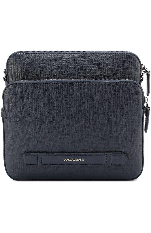 Кожаная сумка-планшет с двумя отделениями на молнии Dolce & Gabbana