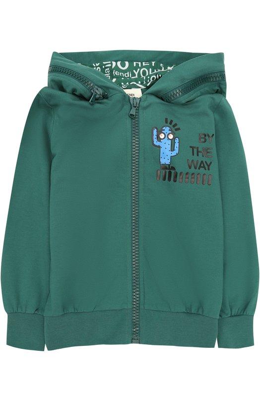 Купить Спортивный кардиган из хлопка с принтом и декоративной молнией на капюшоне Fendi, JMH039/8RA/6A-8A, Португалия, Зеленый, Хлопок: 95%; Эластан: 5%;