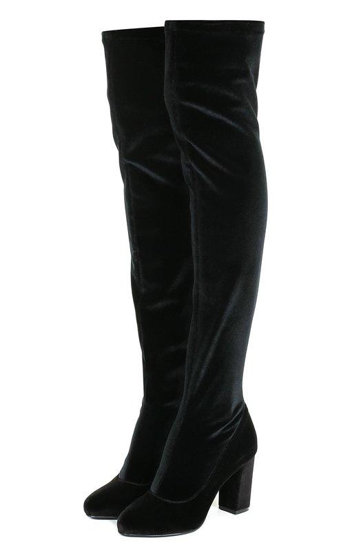 Купить Бархатные ботфорты на устойчивом каблуке Le Silla, K19988/C200K67, Италия, Черный, Стелька-кожа: 100%; Подошва-кожа: 100%; Подошва-резина: 100%; Текстиль: 100%;