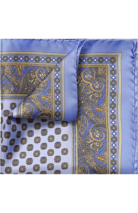 Купить Шелковый платок с узором Eton, A000 27009, Италия, Голубой, Шелк: 100%;