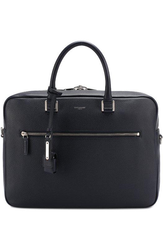 Купить Кожаная сумка для ноутбука с плечевым ремнем Saint Laurent, 480586/DTI0E, Италия, Темно-синий, Кожа натуральная: 100%;