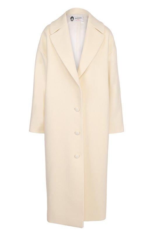 Шерстяное однобортное пальто прямого кроя Lanvin