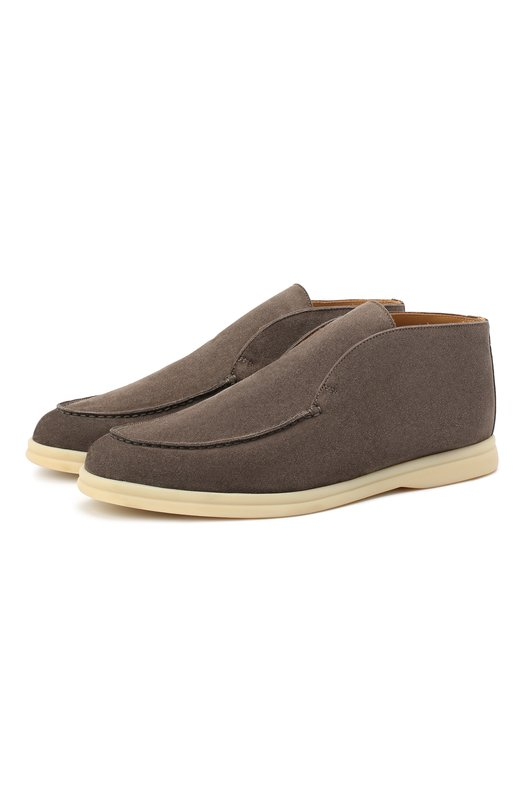 Купить Замшевые ботинки Open Walk без шнуровки Loro Piana, FAB4368, Италия, Темно-серый, Стелька-Кожа: 100%; Подошва-Резина: 100%; Замша натуральная: 100%; Подкладка-Кожа: 100%; Кожа: 100%; Низ-Кожа: 100%;