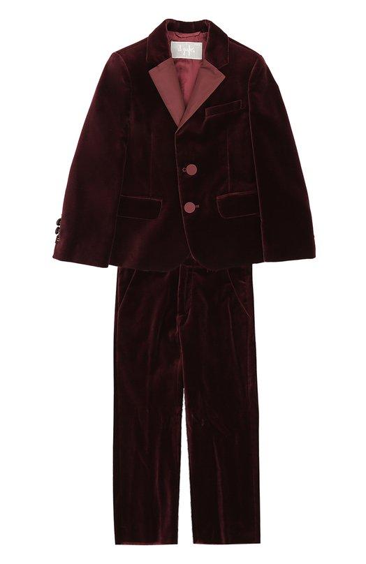 Купить Хлопковый костюм с однобортным пиджаком Il Gufo, A17TX002V0001/5A-8A, Италия, Бордовый, Хлопок: 100%; Подкладка-вискоза: 100%;