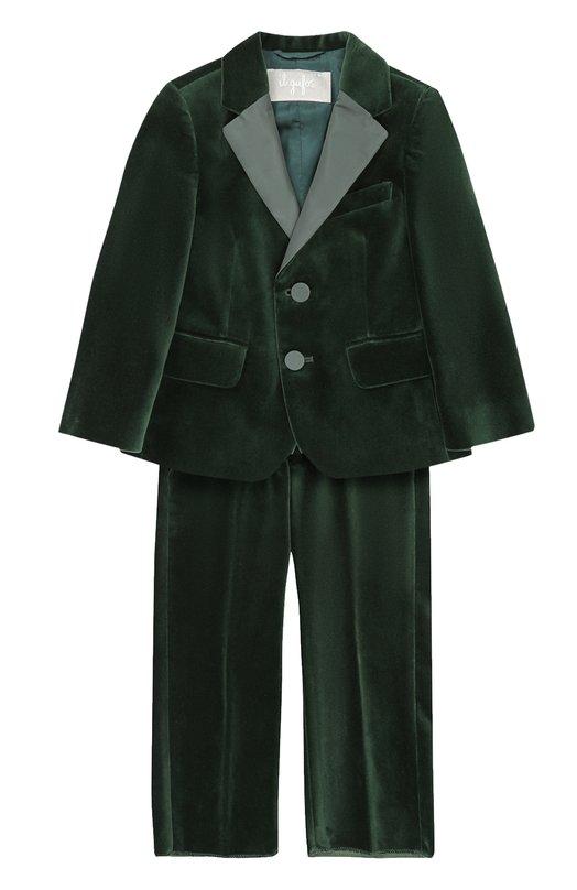Купить Хлопковый костюм с пиджаком на двух пуговицах Il Gufo, A17TX002V0001/2A-4A, Италия, Зеленый, Хлопок: 100%; Подкладка-вискоза: 100%;