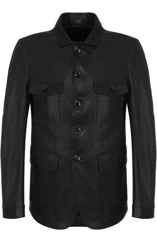 Купить Однобортный кожаный пиджак Tom Ford, BN472/TFL650, Италия, Темно-синий, Подкладка-купра: 55%; Подкладка-хлопок: 45%; Кожа натуральная: 100%;