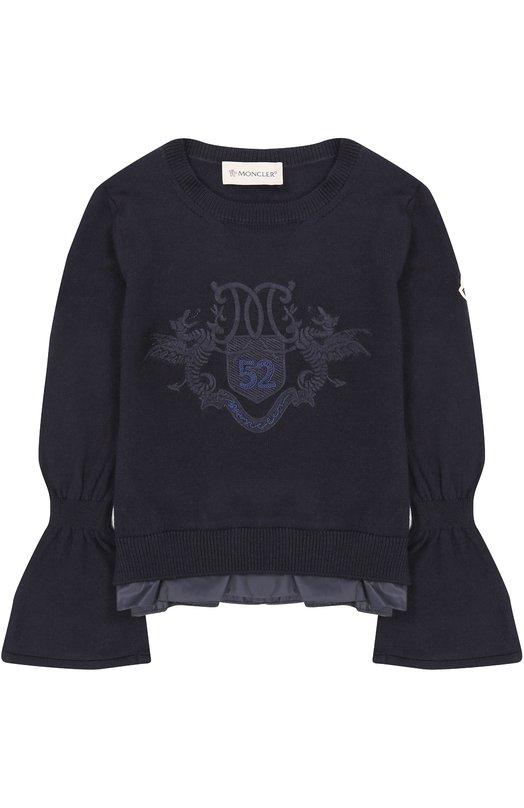 Купить Шерстяной свитер с декоративной отделкой Moncler Enfant, C2-954-90525-55-9699D/4-6A, Украина, Темно-синий, Шерсть: 100%;