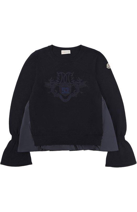 Купить Шерстяной свитер с декоративной отделкой Moncler Enfant, C2-954-90525-55-9699D/12-14A, Украина, Темно-синий, Шерсть: 100%; Отделка-полиамид: 100%;
