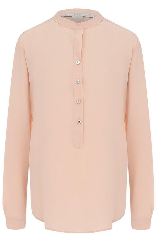 Купить Прямая шелковая блуза с воротником-стойкой Stella McCartney, 358313/SY206, Венгрия, Светло-розовый, Шелк: 100%;