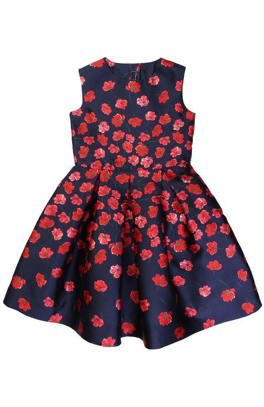 Купить Мини-платье из смеси хлопка и шелка с принтом Oscar de la Renta, F172C620, Португалия, Синий, Шелк: 55%; Хлопок: 45%; Подкладка-ацетат: 100%;