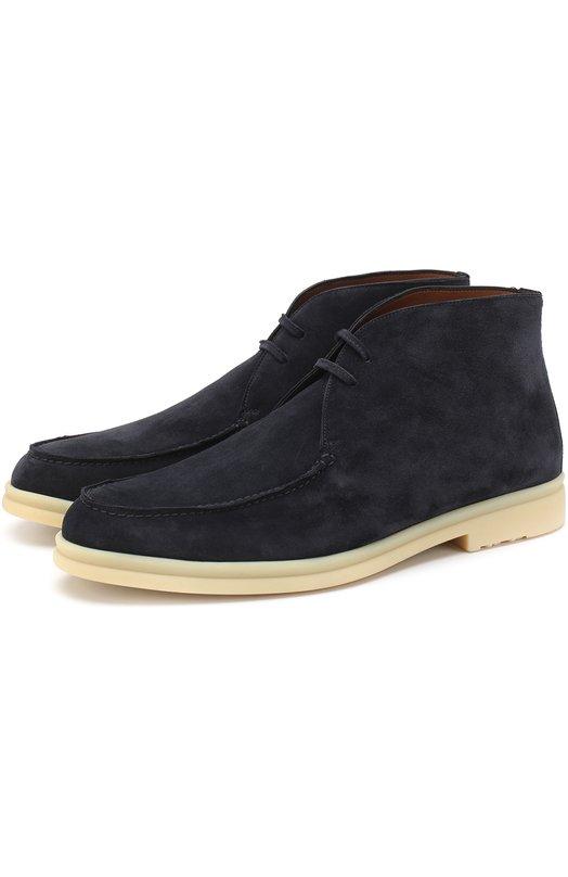 Купить Замшевые ботинки Walk And Walk на шнуровке Loro Piana, FAG3595, Италия, Темно-синий, Стелька-Кожа: 100%; Подошва-Резина: 100%; Замша натуральная: 100%; Подкладка-Кожа: 100%; Кожа: 100%;