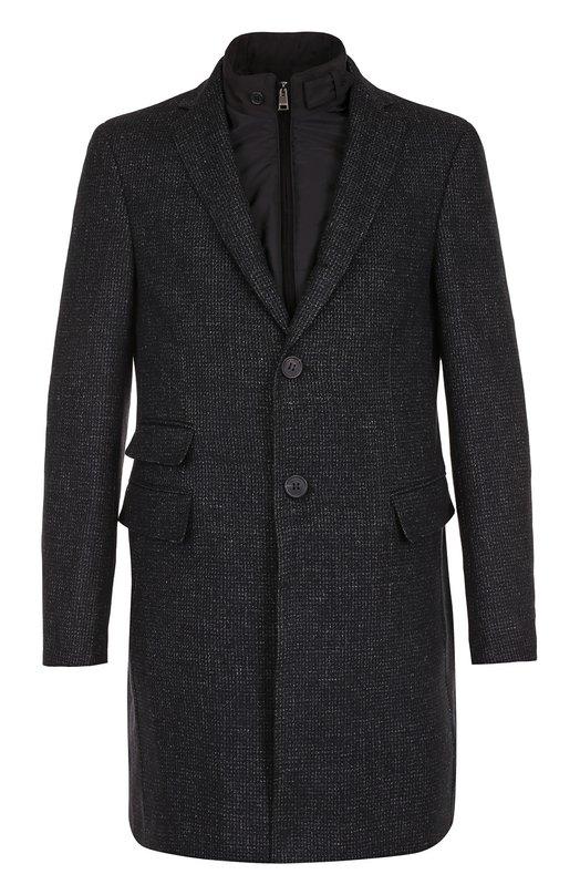 Купить Однобортное пальто из смеси шерсти и шелка со льном с подстежкой Pal Zileri, L3900150/21978, Румыния, Черный, Шерсть: 93%; Шелк: 4%; Лен: 3%; Подкладка-полиэстер: 100%;