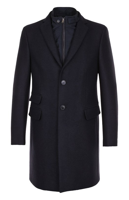 Купить Шерстяное однобортное пальто с подстежкой Pal Zileri, L3900150/21988, Румыния, Темно-синий, Шерсть: 100%; Подкладка-полиэстер: 100%;