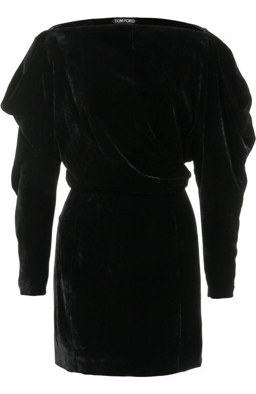 Бархатное мини-платье с вырезом-лодочка Tom Ford Tom Ford