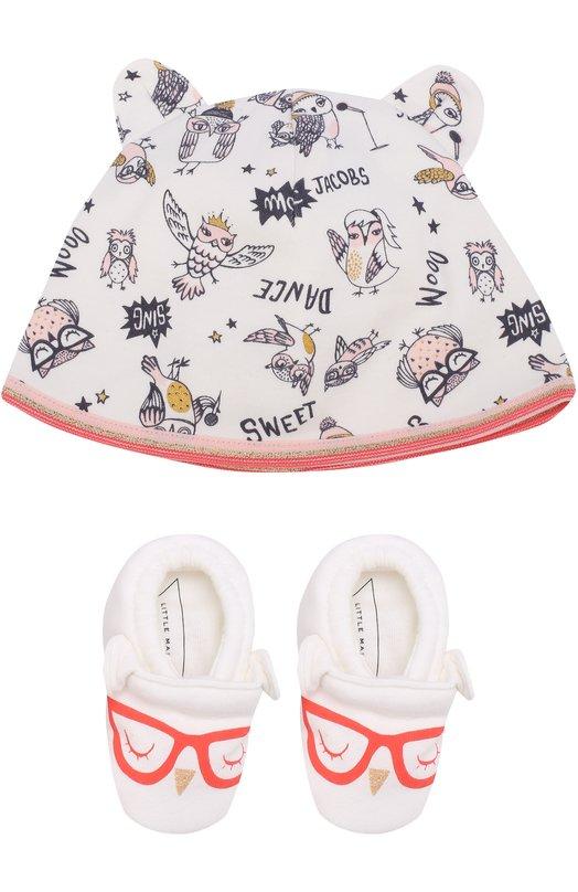Купить Хлопковый комплект из пинеток и шапки с принтом Marc Jacobs, W98096, Таиланд, Белый, Хлопок: 100%;