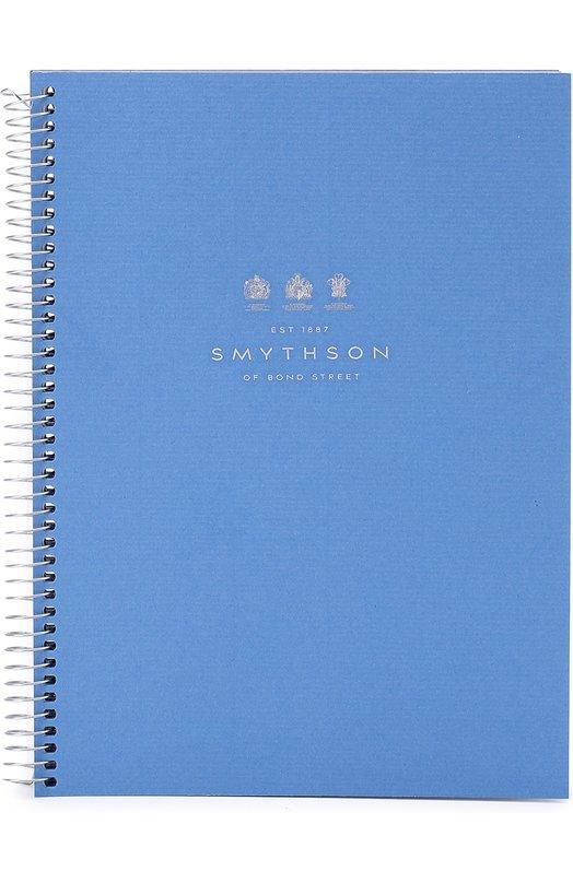 Купить Кожаная папка на молнии с блоком для органайзера Smythson, 1017222, Испания, Темно-синий, Кожа натуральная: 100%; Бумага: 100%;