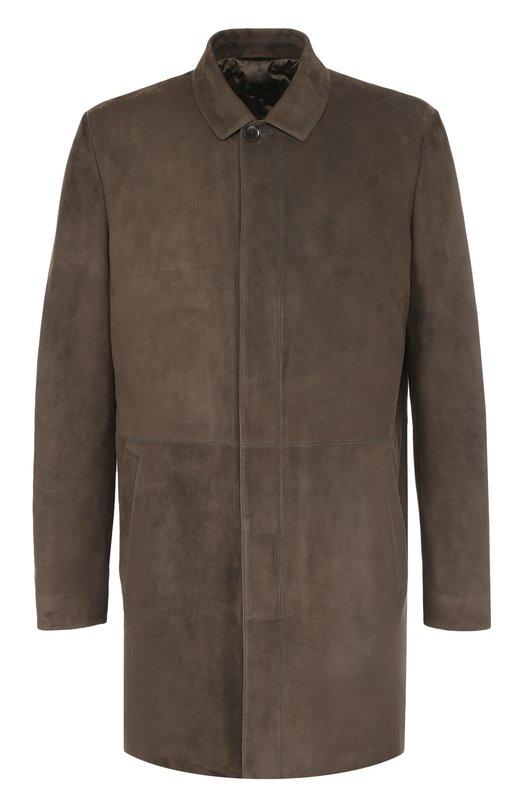 Купить Однобортное замшевое пальто с отложным воротником Loro Piana, FAG4530, Италия, Темно-бежевый, Кожа натуральная: 100%; Подкладка-полиэстер: 100%;