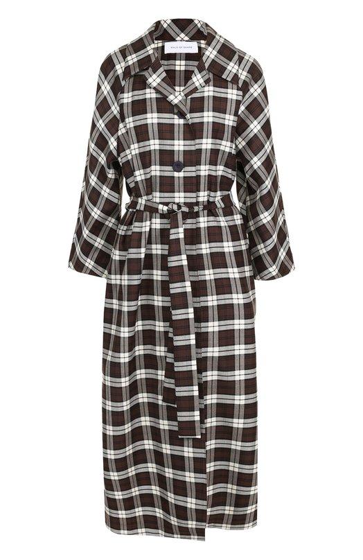 Купить Платье-рубашка в клетку с поясом Walk of Shame, D003-FW 17-18, Россия, Коричневый, Хлопок: 100%;