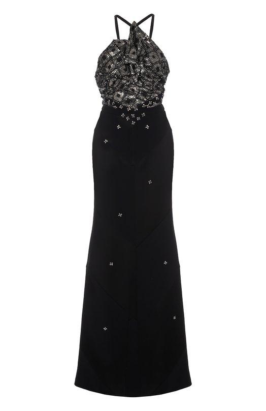 Купить Приталенное платье-макси с декорированным лифом Roland Mouret, PW17/S0058/F6467, Великобритания, Черный, Ацетат: 73%; Вискоза: 27%; Подкладка-шелк: 100%; Полиэстер: 100%;