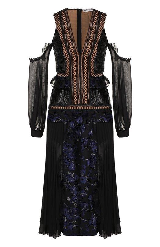 Купить Приталенное платье-миди с открытыми плечами self-portrait, SP15-032, Китай, Черный, Полиэстер: 51%; Вискоза: 49%; Подкладка-полиэстер: 100%;