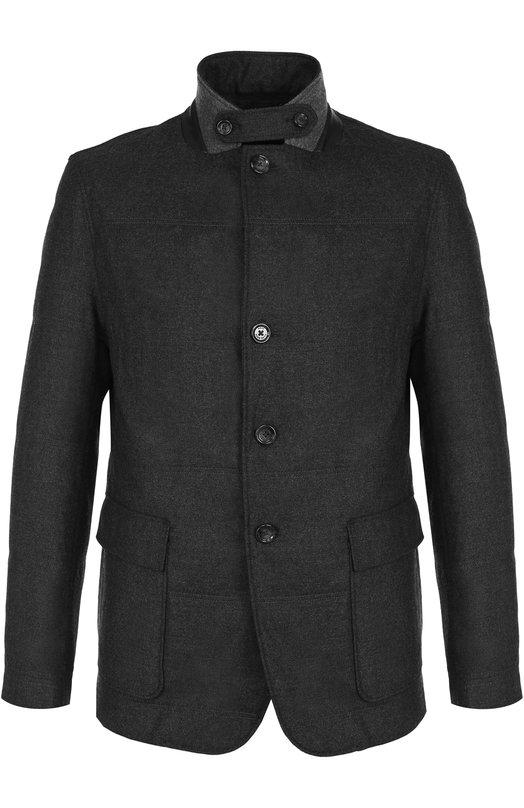 Купить Шерстяная куртка на пуговицах с отложным воротником BOSS, 50376232, Польша, Темно-серый, Шерсть: 100%;