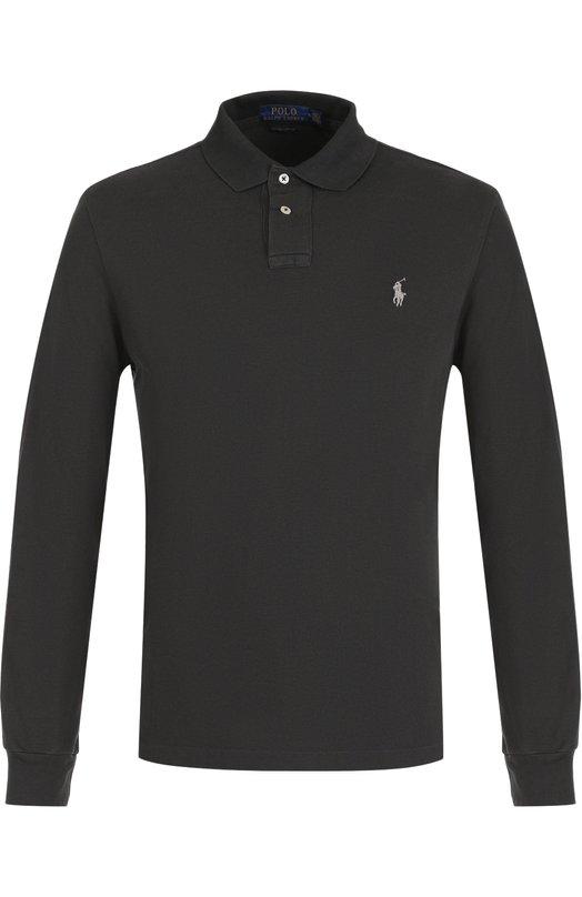 Купить Хлопковое поло с длинными рукавами Polo Ralph Lauren, 710677297, Вьетнам, Темно-серый, Хлопок: 100%;