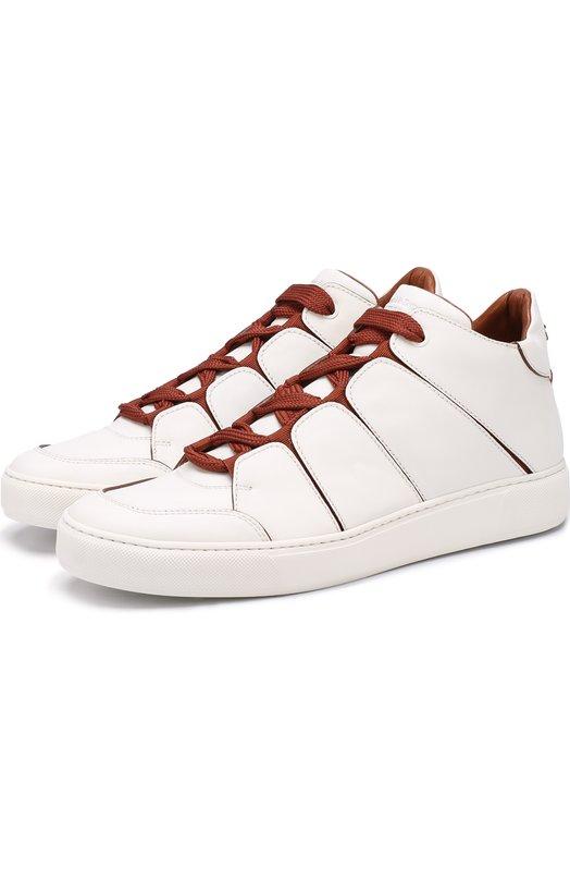 Купить Высокие кожаные кеды на шнуровке Zegna Couture, A2891X-SWI, Италия, Белый, Кожа натуральная: 100%; Стелька-кожа: 100%; Подошва-резина: 100%;