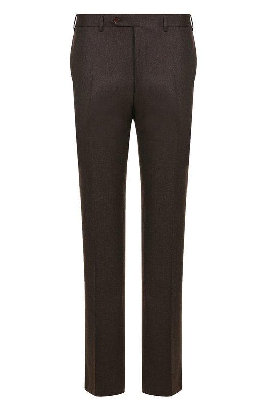 Купить Шерстяные брюки прямого кроя Canali, 71012/AN00019, Италия, Коричневый, Шерсть: 100%;