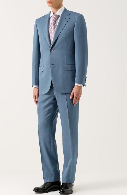 Купить Костюм из смеси шерсти и шелка с пиджаком на двух пуговицах Brioni, RAH0/P6AH4/PARLAMENT0/2, Италия, Голубой, Шерсть: 85%; Шелк: 15%; Подкладка-купра: 100%;